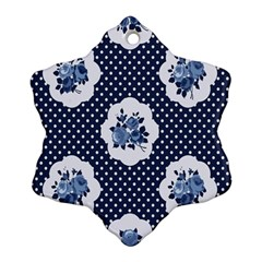 Shabby Chic Navy Blue Snowflake Ornament (two Sides) by 8fugoso