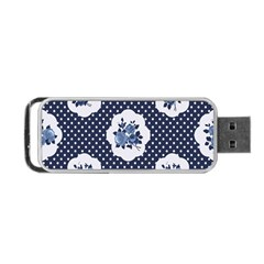 Shabby Chic Navy Blue Portable Usb Flash (two Sides) by 8fugoso
