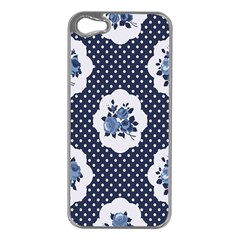 Shabby Chic Navy Blue Apple Iphone 5 Case (silver) by 8fugoso