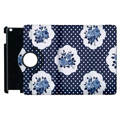 Shabby Chic Navy Blue Apple Ipad 3/4 Flip 360 Case by 8fugoso