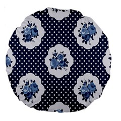 Shabby Chic Navy Blue Large 18  Premium Round Cushions by 8fugoso