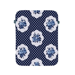 Shabby Chic Navy Blue Apple Ipad 2/3/4 Protective Soft Cases by 8fugoso