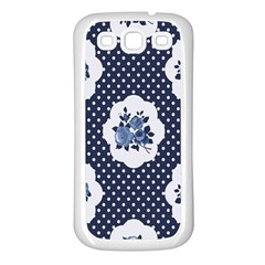 Shabby Chic Navy Blue Samsung Galaxy S3 Back Case (white) by 8fugoso