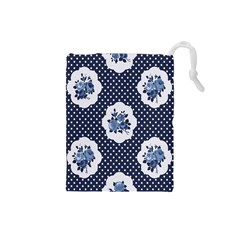 Shabby Chic Navy Blue Drawstring Pouches (small)  by 8fugoso