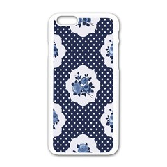 Shabby Chic Navy Blue Apple Iphone 6/6s White Enamel Case by 8fugoso