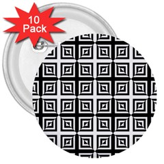 Seamless Pattern Background Black And White 3  Buttons (10 Pack)  by Onesevenart