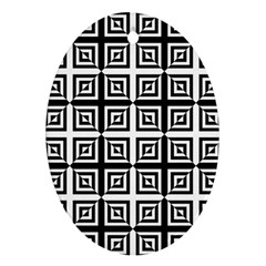 Seamless Pattern Background Black And White Oval Ornament (two Sides) by Onesevenart