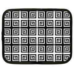 Seamless Pattern Background Black And White Netbook Case (large) by Onesevenart