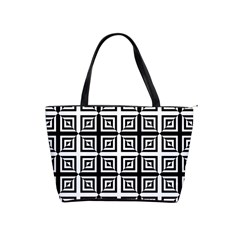 Seamless Pattern Background Black And White Shoulder Handbags by Onesevenart
