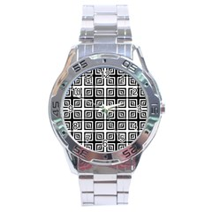 Seamless Pattern Background Black And White Stainless Steel Analogue Watch by Onesevenart