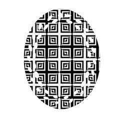 Seamless Pattern Background Black And White Oval Filigree Ornament (two Sides) by Onesevenart