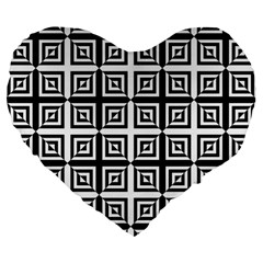 Seamless Pattern Background Black And White Large 19  Premium Flano Heart Shape Cushions by Onesevenart