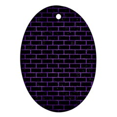 Brick1 Black Marble & Purple Brushed Metal (r) Oval Ornament (two Sides) by trendistuff