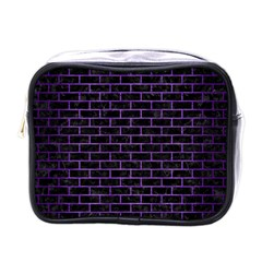 Brick1 Black Marble & Purple Brushed Metal (r) Mini Toiletries Bags by trendistuff