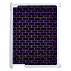 Brick1 Black Marble & Purple Brushed Metal (r) Apple Ipad 2 Case (white) by trendistuff