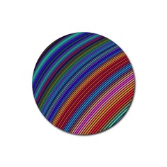 Multicolored Stripe Curve Striped Rubber Round Coaster (4 Pack)  by Onesevenart