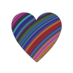 Multicolored Stripe Curve Striped Heart Magnet by Onesevenart