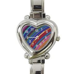 Multicolored Stripe Curve Striped Heart Italian Charm Watch by Onesevenart