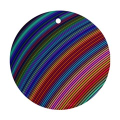 Multicolored Stripe Curve Striped Round Ornament (two Sides) by Onesevenart