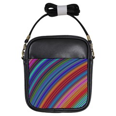 Multicolored Stripe Curve Striped Girls Sling Bags by Onesevenart