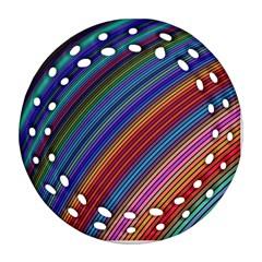 Multicolored Stripe Curve Striped Ornament (round Filigree) by Onesevenart