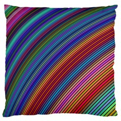 Multicolored Stripe Curve Striped Standard Flano Cushion Case (one Side) by Onesevenart