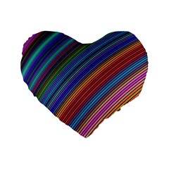Multicolored Stripe Curve Striped Standard 16  Premium Flano Heart Shape Cushions by Onesevenart