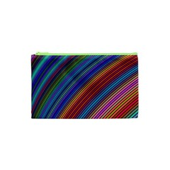 Multicolored Stripe Curve Striped Cosmetic Bag (xs) by Onesevenart