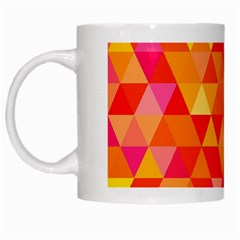 Triangle Tile Mosaic Pattern White Mugs by Onesevenart