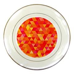 Triangle Tile Mosaic Pattern Porcelain Plates by Onesevenart