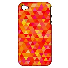 Triangle Tile Mosaic Pattern Apple Iphone 4/4s Hardshell Case (pc+silicone) by Onesevenart
