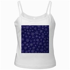 Snowflakes Pattern White Spaghetti Tank by Onesevenart