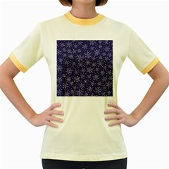Snowflakes Pattern Women s Fitted Ringer T Shirts by Onesevenart