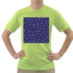 Snowflakes Pattern Green T Shirt by Onesevenart