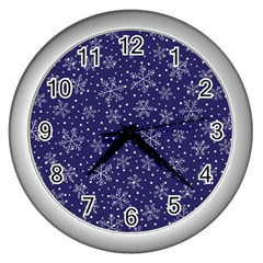 Snowflakes Pattern Wall Clocks (silver)  by Onesevenart