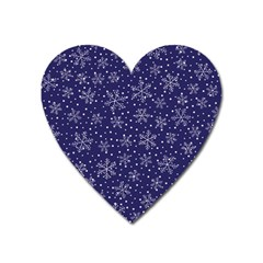 Snowflakes Pattern Heart Magnet by Onesevenart