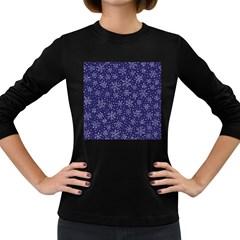 Snowflakes Pattern Women s Long Sleeve Dark T Shirts by Onesevenart