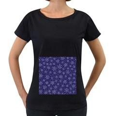 Snowflakes Pattern Women s Loose Fit T Shirt (black) by Onesevenart