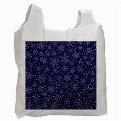 Snowflakes Pattern Recycle Bag (two Side)  by Onesevenart