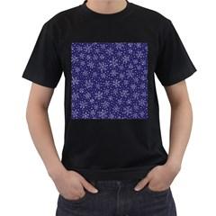 Snowflakes Pattern Men s T Shirt (black) by Onesevenart
