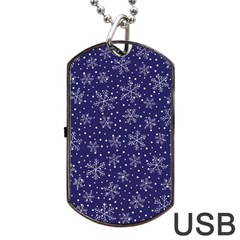 Snowflakes Pattern Dog Tag Usb Flash (one Side) by Onesevenart