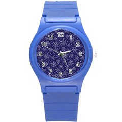 Snowflakes Pattern Round Plastic Sport Watch (s) by Onesevenart