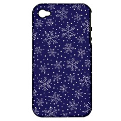 Snowflakes Pattern Apple Iphone 4/4s Hardshell Case (pc+silicone) by Onesevenart