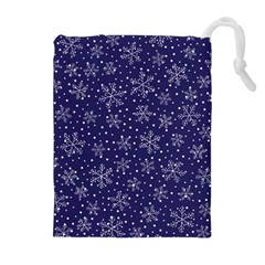 Snowflakes Pattern Drawstring Pouches (extra Large) by Onesevenart