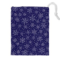 Snowflakes Pattern Drawstring Pouches (xxl) by Onesevenart