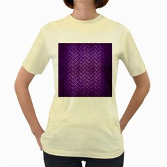 Brick2 Black Marble & Purple Brushed Metal Women s Yellow T Shirt by trendistuff