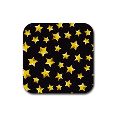 Yellow Stars Pattern Rubber Square Coaster (4 Pack)  by Onesevenart