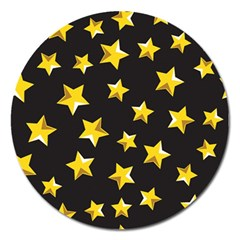Yellow Stars Pattern Magnet 5  (round)