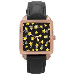 Yellow Stars Pattern Rose Gold Leather Watch  by Onesevenart