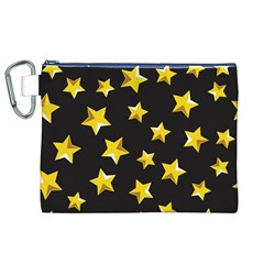Yellow Stars Pattern Canvas Cosmetic Bag (xl) by Onesevenart